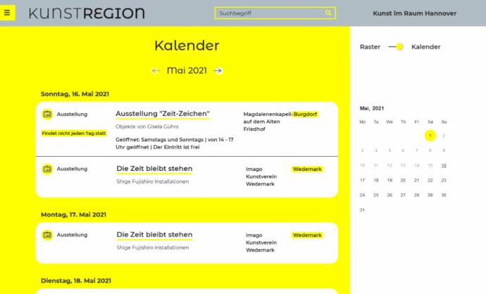 Kalender Kunstregion